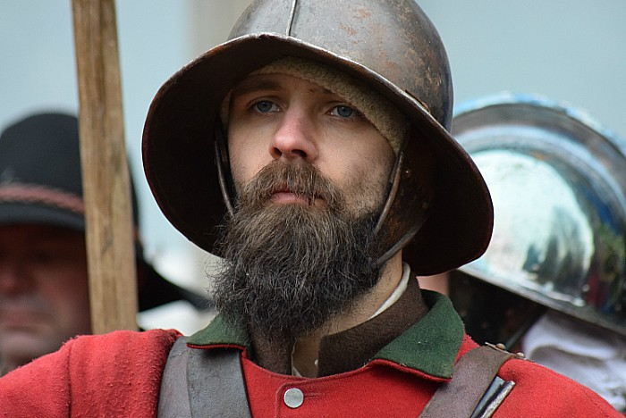 A pikeman prepares for inspection outside St Marys Church Nantwich