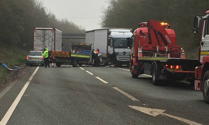 van and HGV A500 collision on A500 near Shavington - pic by Cheshire Police