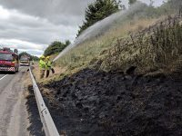 Vehicle blaze damages A500 embankment at Shavington