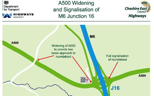 Motorists delay warning as A500 widening gets underway at junction 16