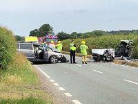 Two-vehicle crash closed A51 at Doddington Lake near Nantwich