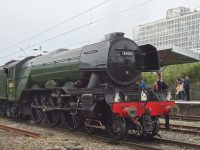 Train fans flock to Crewe to see The Flying Scotsman