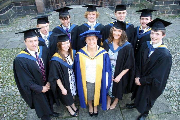 AGRICULTURE graduates with Course Manager Dr Jane Richardson