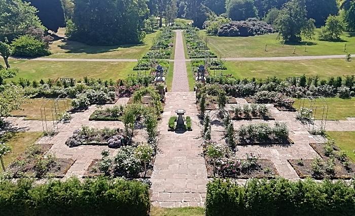 Aerial shot of Lavinia Walk - Cholmondeley Castle Gardens