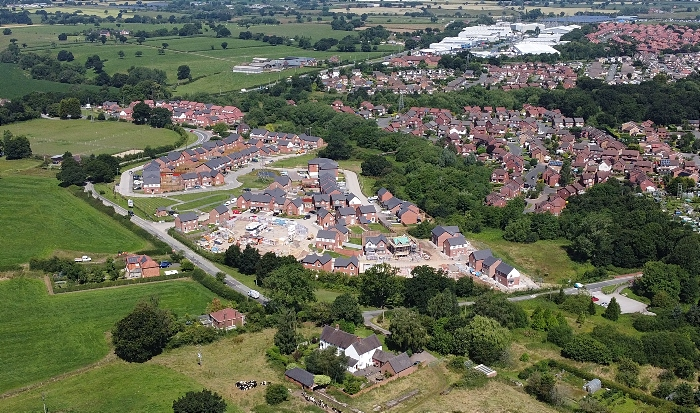 Aerial view Wistaston green Road and bellway housing development