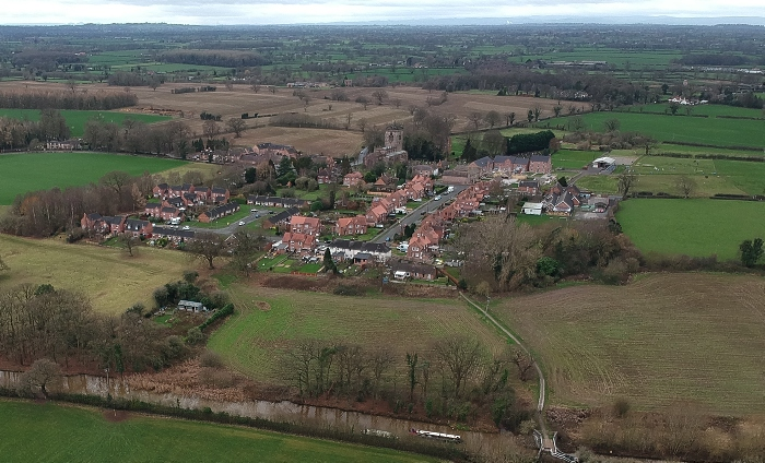 Aerial view of Acton and Henhull - site of the original Battle of Nantwich in 1644