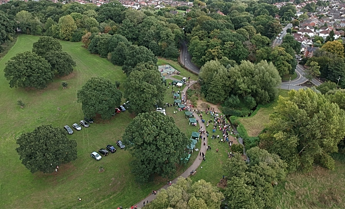 aerial view of Wistaston duck and boat race at Joey the Swan