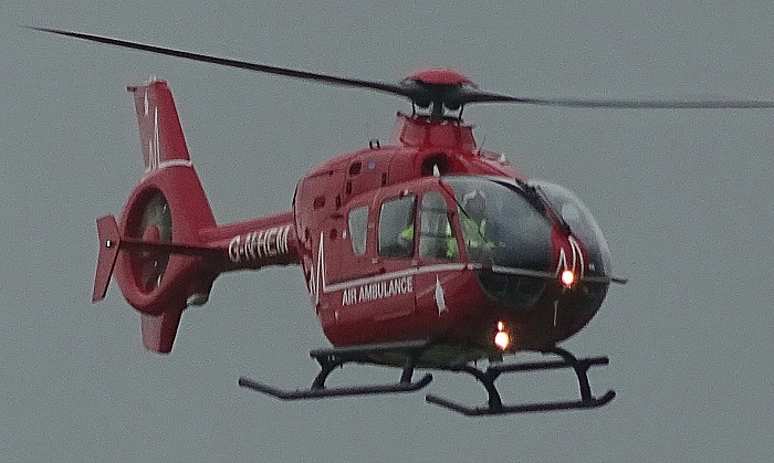 motorcyclist - Air Ambulance over Wistaston, pic by Jonathan White