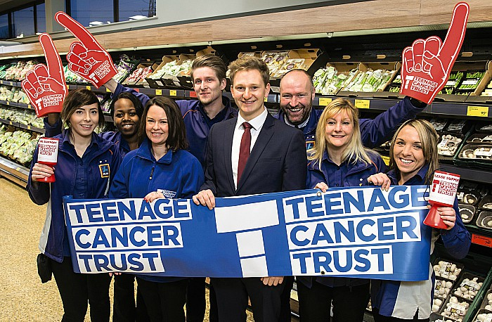 Aldi UK employees raise money in stores for the Teenage Cancer Trust