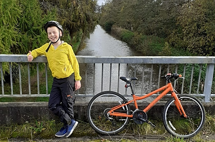 Alfie on his cycle route in aid of RNLI