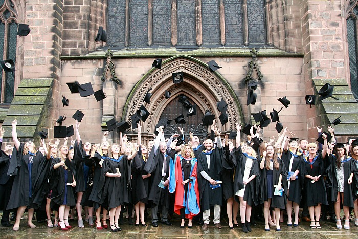 graduation - all-graduates-cap-throw-outside-st-marys-church-nantwich