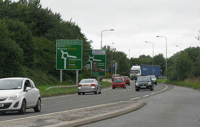 roundabouts - Alvaston roundabout in Nantwich, A51 and A530, pic by M J Richardson creative commons licence
