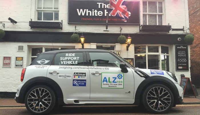 Alzheimers 100 charity ride, support vehicle, Nantwich