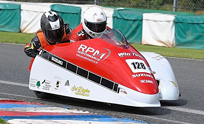 Amy Dodd from Crewe in sidecar club championships Mallory Park