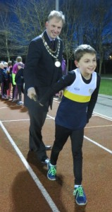 Andrew Martin with Crewe & Nantwich Athletics Club youngster