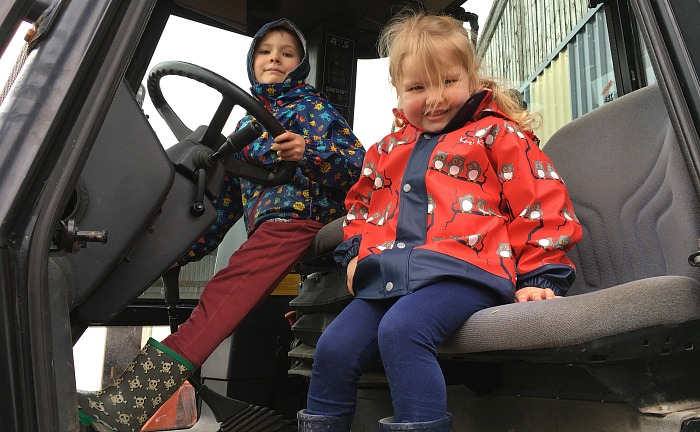 Andrew,6, and Emma,3, Rolton from Crewe JCB tractor