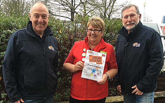 Angela Leighton with Dave Foulkes (presenter at The Cat) and Chris Cadman (CAT MD)