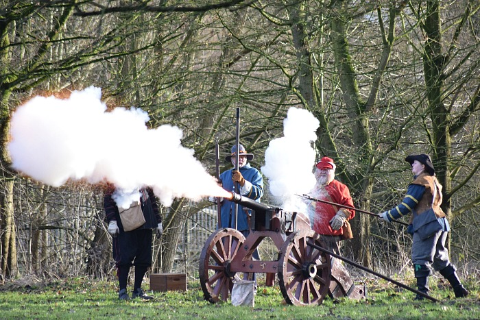 Artillery in action on Mill Island