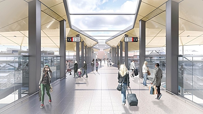 Artist impression of Crewe Station internal walk-way (1)