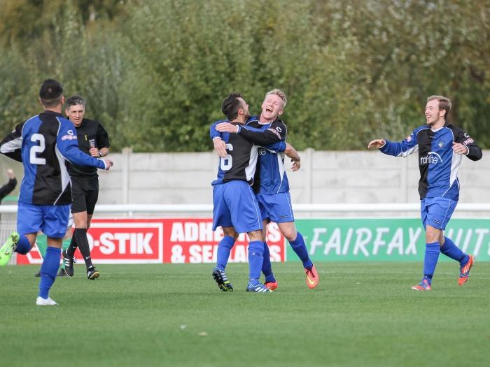 Ashton United score a third against Nantwich Town