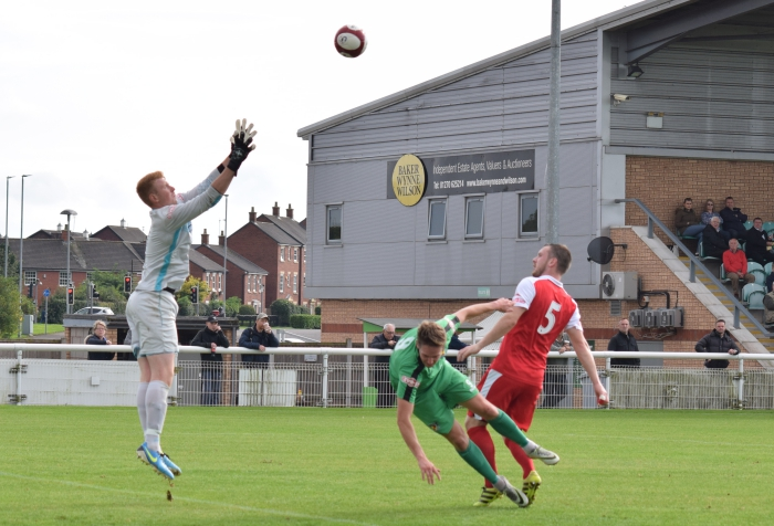 Ashton goalkeeper Ashley Frith prepares to catch the ball