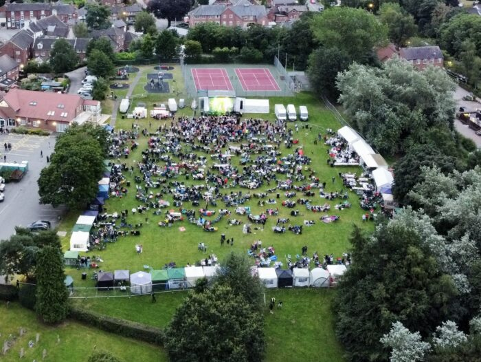 Audlem Party on the Park 2021 - aerial view (1)