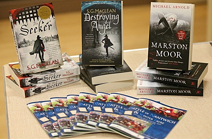 Authors books on display along with the Battle of Nantwich and Winter Fayre 2019 programme