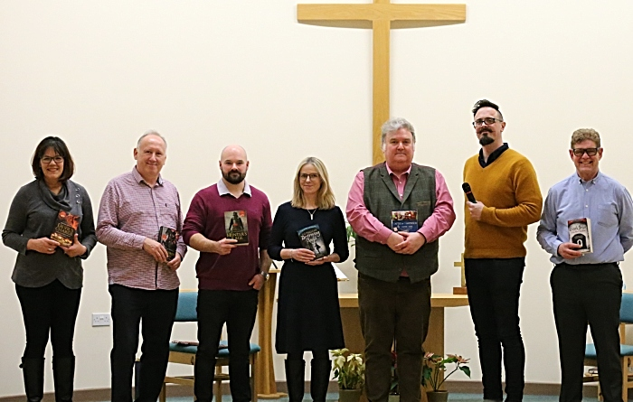 Authors with compere Michael Molcher and organisers Denise and Steve Lawson from Nantwich Book Shop and Coffee Lounge at Nantwich Methodist Church (1)