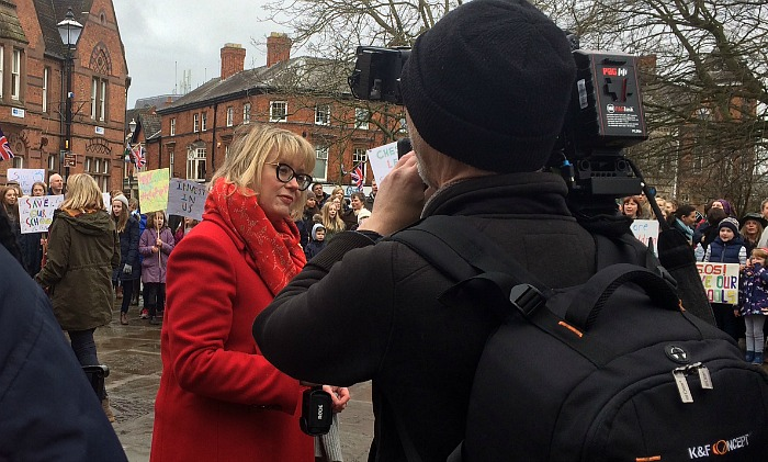 BBC education editor Branwen Jeffreys presents at Nantwich education protest