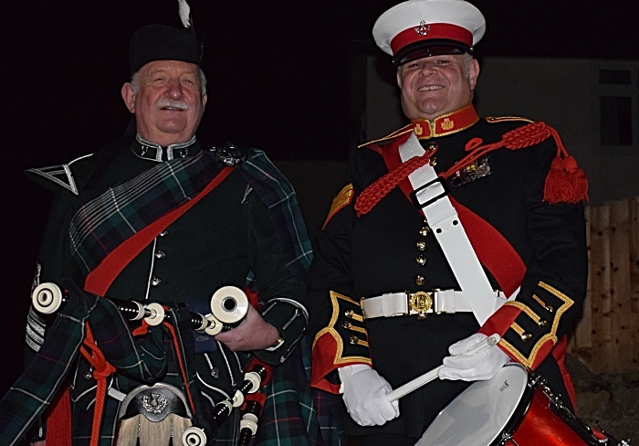Bagpiper Reg Flower and drummer Rob Richardson