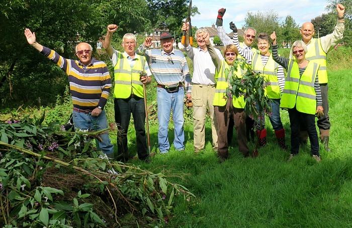 Balsam volunteer army clear plants in Nantwich