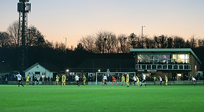 Bamber Bridge push forward towards the Nantwich Town goal close to full-time (1)