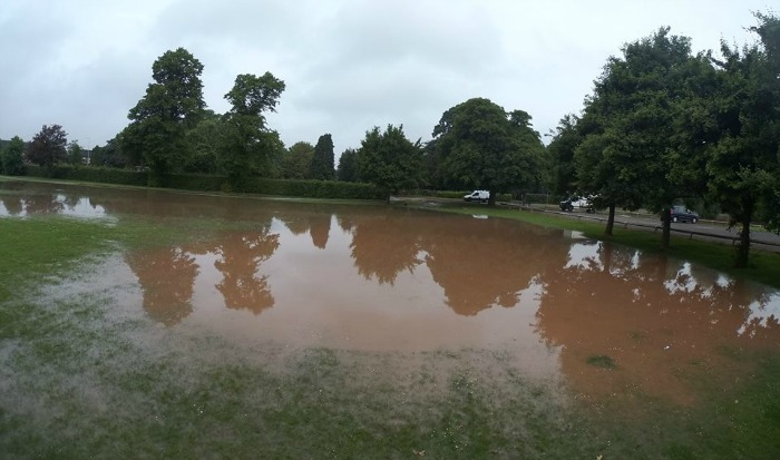Barony Park flooded by water leak on Middlewich Road