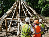 Volunteers rebuild 4,000-year-old Bronze Age house at Beeston Castle