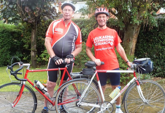 Ben Reinhardt (left) and Jim Forkin, cycling the Rhine for Bloodwise