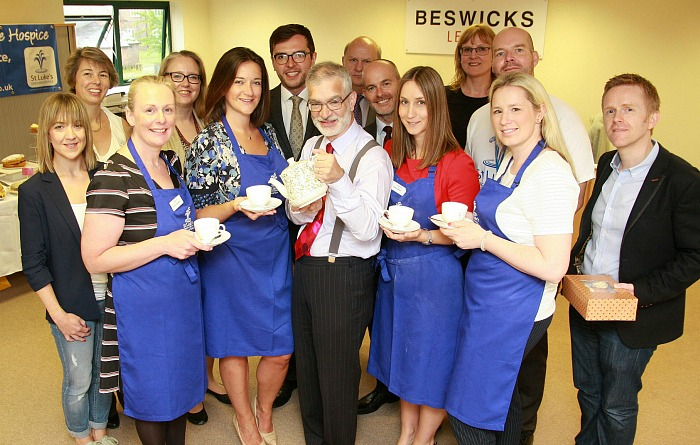 Solicitors at Beswicks in Nantwich make coffee for St Luke's Hospice
