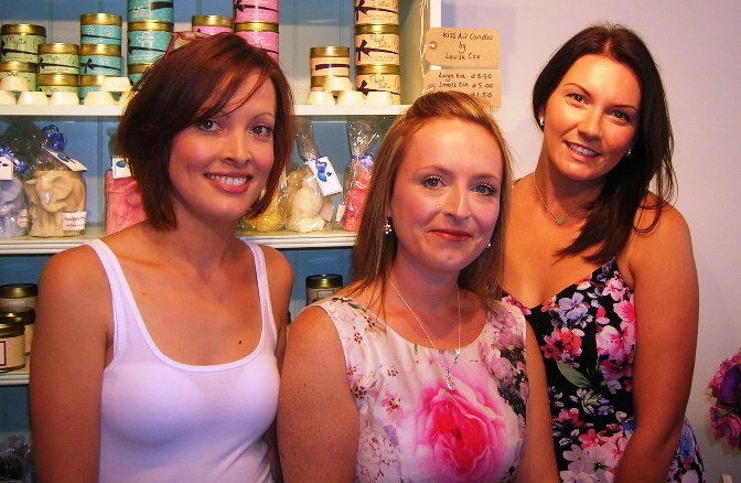 Beth Harrison (centre) at For Candles of Nantwich shop and friends