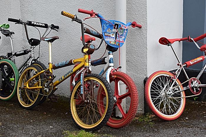 Bikes on display outside Ye Olde Manor