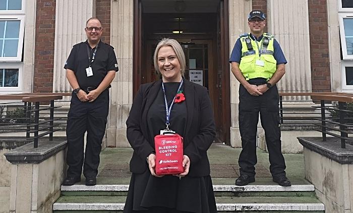 Bleeding Control Kit handover - knives crackdown cheshire police
