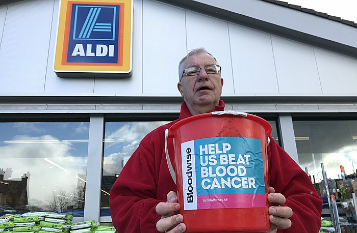 Bloodwise volunteer Ben Reinhardt at Aldi Nantwich