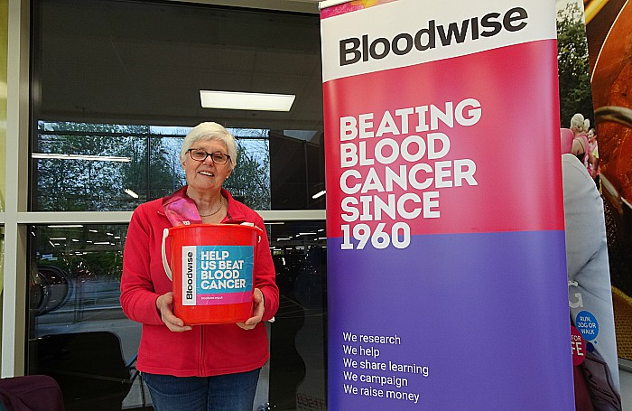 bucket - Bloodwise volunteer Fiona Crompton collects at Tesco Extra Crewe