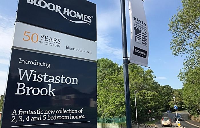 Bloor Homes 'Wistaston Brook' signage and adjacent Wistaston Hall Bridge on Church Lane (1)