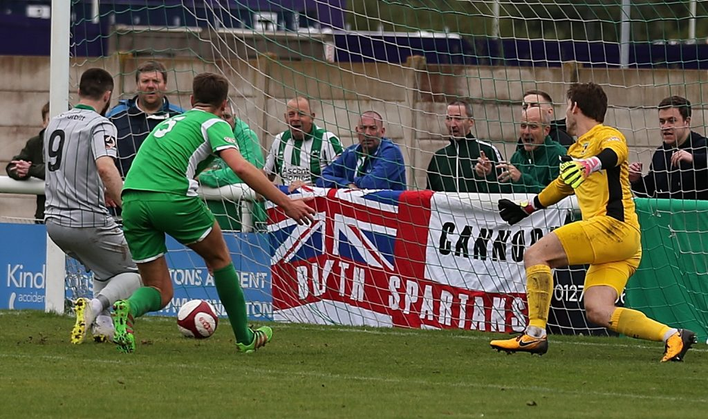 Blyth Spartans third goal - Bradley Fewster steers it home from two yards (1)