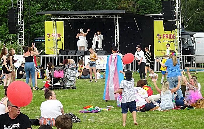 Pride in park - Bosom Buddies perform on stage