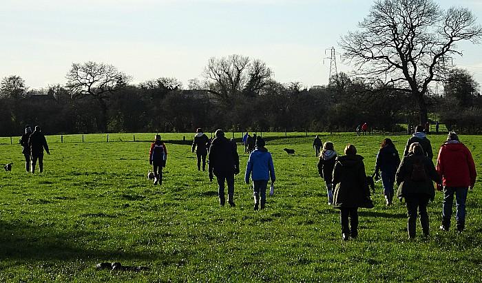 Boxing Day walk across fields in Wistaston