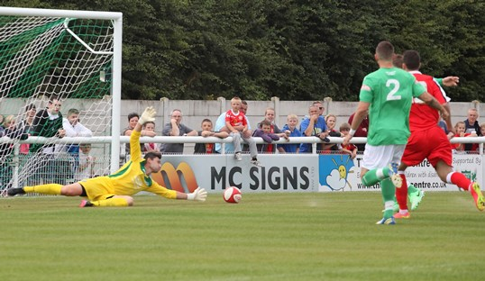 Brad Inman scores for Crewe Alex at Nantwich Town