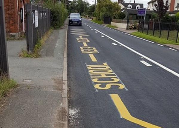 Buerton School - CEC highways yellow markings