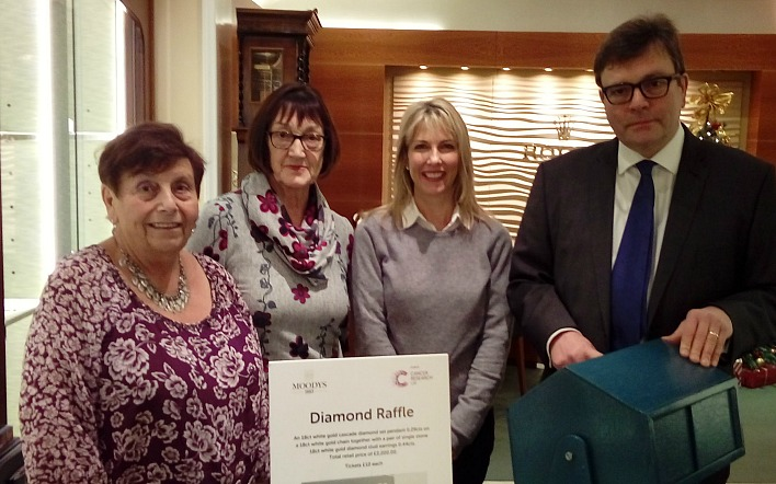 diamond raffle - C H Moody jewellers help raise £4,000 for cancer research