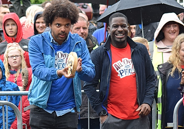 CBBC programme All Over the Place - Johnny prepares to roll his pie watched by Inel - Fig Pie