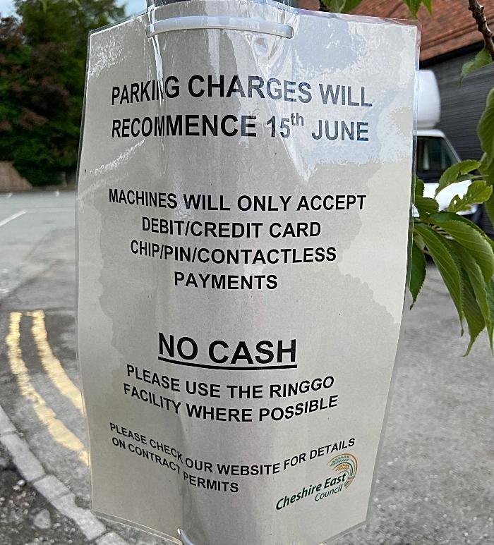 CEC car park - parking charges recommence 15th June sign (1) (1)